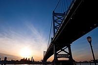 Benjamin Franklin Bridge connecting Philadelphia and Camden, New Jersey, USA.