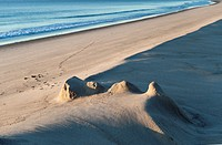 Remenants of a sand castle at Nauset Beach, Cape Cod, Massachusetts, USA.