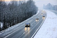 Tolls and A48 highway, AREA, between Lyon and Grenoble, cut to traffic in the direction Grenoble - Lyon due to snow and ice, Chartreuse, Alpes, Rhone-...