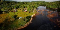 "Touristic resort. """"Saut Athanase"""" on the Approuague river. Dry season. French Guiana."