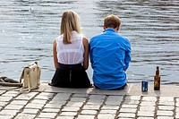 The pair on the river bank, Prague.