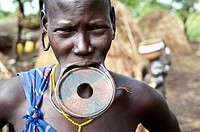 Woman belonging to the Mursi tribe. Omo valley ( Ethiopia).