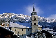 village of Areches in winter, commune of Beaufort-sur-Doron, Savoie department, Rhone-Alpes region, France, Europe.