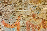 Egypt, temple of Beit el Wali, on Kalabsha Island, lake Nasser. This is an early construction of Ramses II, saved by UNESCO. The god Khnoum presents t...