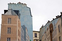 Paris, France, EU - fake painted buildings masking unattractive back walls of some real buildings in downtown area