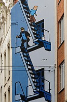 Painted wall, Tintin comic by Hergé, Mural, Marolles district, Brussels, Belgium, Europe.