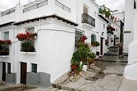 Street scene at Capileira village, Las Alpujarras, Andalucia, Spain.