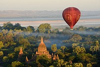 Myanmar, Bagan from above.