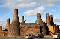The bottle ovens or kilns at Gladstone Pottery Museum Stoke-on-Trent Staffordshire.