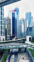expressionist filter view of office buildings, Hong Kong, China.