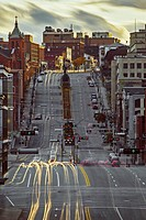 Cars light-trails, King street, Sherbrooke, Quebec, Canada.