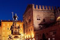 Italy, Emilia Romagna, Bologna, Piazza Maggiore Square, Fontana del Nettuno, Fountain of Neptune Detail.