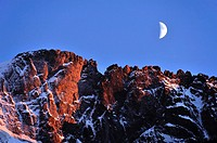Alpenglow and moon, Hautes-Alpes, French Alps, France.