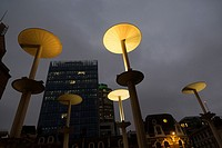 London, The City, UK - Interesting street lamps contemporary urban design at the exit of Liverpool Street Station