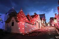 Christmas lights in Trullis area. Alberobello, Puglia. Italy.