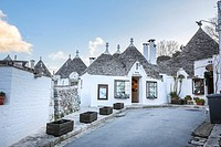 Characteristic houses named Trulli located at mid of Puglia land. Alberobello, Puglia. Italy.
