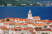 View of historical center of Korcula town with dominating belfry of St. Mark Cathedral. Croatia.