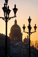 Silhouette of St. Isaac´s Cathedral at sunset in St. Petersburg, Russia.