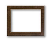 Old Antique Brown Frame With Shadows Isolated On White Background.