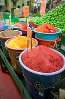 Fruit powders and limes for sale at La Merced market, Mexico City, Mexico, Central America.