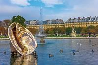 Paris, France - 23 October, 2012: The Tuileries Garden of the Louvre Museum in Paris. The former royal palace and the world´s most visited museum.