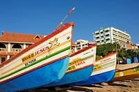 fishing boats on the beach, Kanyakumari, Tamil Nadu, India.
