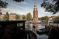 Montelbaanstoren Tower on the Oudeschans canal near Prins-Hedrichkade in Amsterdam.
