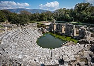 Looking across the remains of the 4th century BC Theatre at Butrint in Southern Albania.