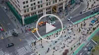 NEW YORK - MAY 7: (Time-lapse) Traffic and pedestrians move along 5th Avenue through Madison Square between 23rd and 24th Streets in a tilt-shift mini...