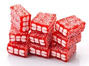 gummy red bricks, covered with sugar.