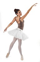 young and beautiful ballet dancer posing in studio.