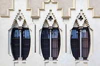 Modernist windows in Rectoria,Cerdanyola,Catalonia,Spain.