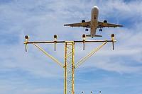Airplane landing in El Prat, Barcelona.