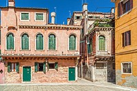 Colored buildings in Venice.