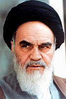 Ayatollah Ruhollah Khomeini 13.05.1900 - 03.06.1989: Portrait of the Leader of the Islamic revolution and founder of the Islamic Republic of Iran - Ca...