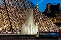 Paris, France - Pyramid at Night, The Louvre Museum, Credit Architect: I.M. Pei