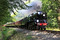 Bulleid Pacific ´Sir Keith Park´ thunders through Trimpley on the Severn Valley Railway, Worcestershire, England, Europe.