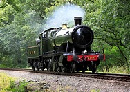 A GWR heavy freight 2-8-0 steam locomotive heads throught Eyemore woods at Trimpley on the Severn Valley Railway, Worcestershire, England, Europe.