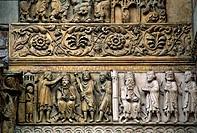 Italia, Emilia Romagna, Fidenza, St Donnino Cathedral, Detail Facade. . . .