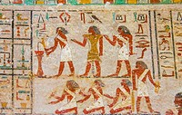 Middle Egypt, Beni Hasan, the tomb of Khnumhotep II dates from the Middle Kingdom. Religious rites.