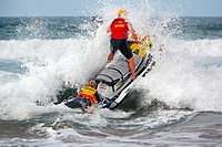 Surf Rescue lifesavers with a jetski. Victoria, Australia.