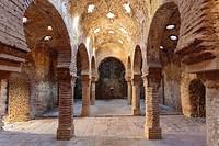 Ronda, Malaga Province, Andalusia, southern Spain. Interior of the Baños Arabes, or Arab baths.