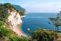 View over the steep coastline at Sirolo, Marche, Italy.