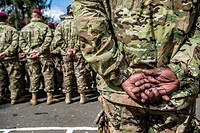 US soldiers during opening ceremony Ukrainian-US Exercise Fearless Guardian at International peacekeeping and security centre, Yavoriv, Lviv region, U...