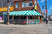 Street scene in the Kensington Market area of Toronto, Ontario, Canada.