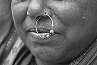 Nathani gold ring ornament used in nostril ,Lavasa,Poona,Mahrshtra,India.