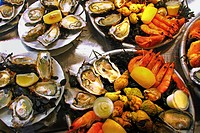 Seafood (oysters, shrimps and whelks) at the Marché des Capucins market, Bordeaux, Gironde, Aquitaine, France