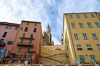 Menton, Old city center, Saint Michel Basilica, Alpes Maritimes, Provence Alpes Cote Azur, French Riviera, France.