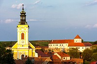 church of Saint Kunigunde and castle, Cejkovice, Czech Republic.