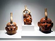 Sculptured bottle - representation of a single individual. Mochica Classic period 1 - 800 AD. Museo de Arte Precolombino, Cusco - Peru. It is the Moch...